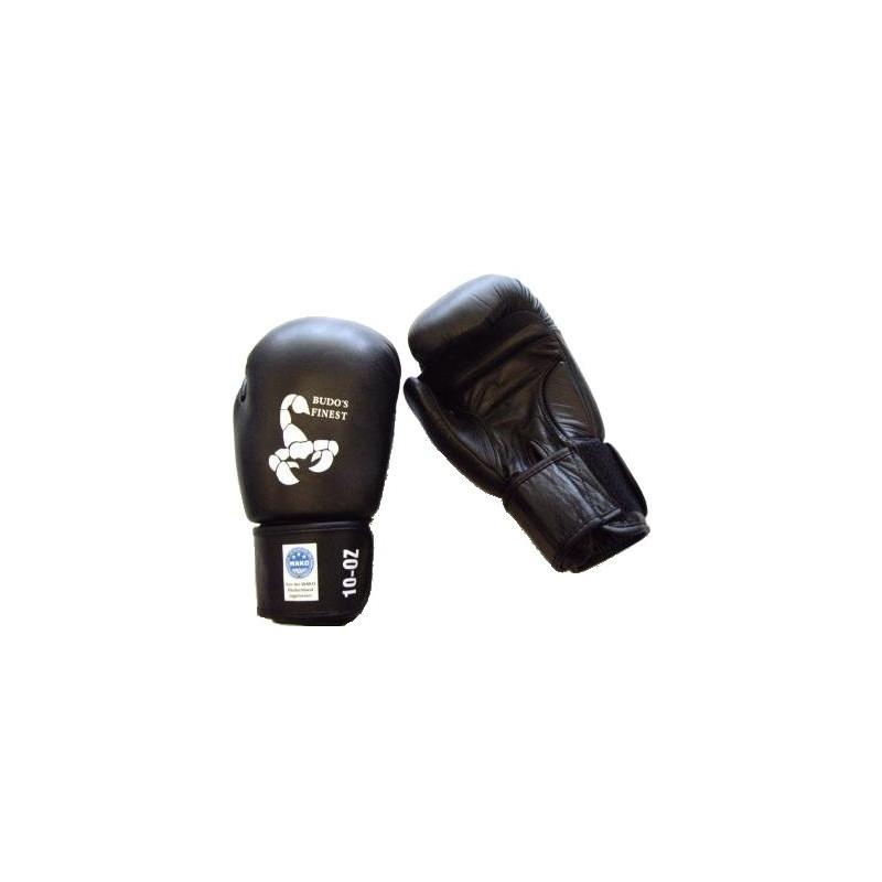 BUDO's FINEST Leder-Kickboxhandschuh mit WAKO-Lizenzmarke 10oz
